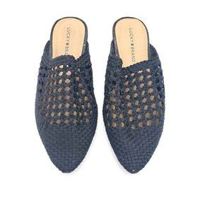 Lucky Brand Womens Mule Flats Black Weaved Cut Out